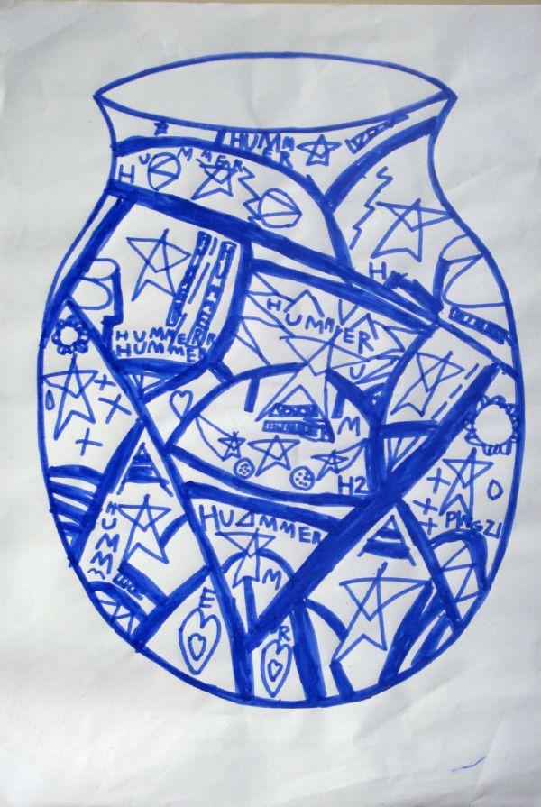 线描画-青花瓷
