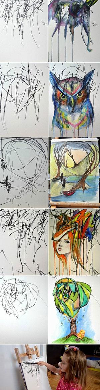 有个艺术家妈妈,发现她画画的时候女儿都会全神