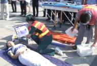 交警医护人员联合演练 提高伤者救治率